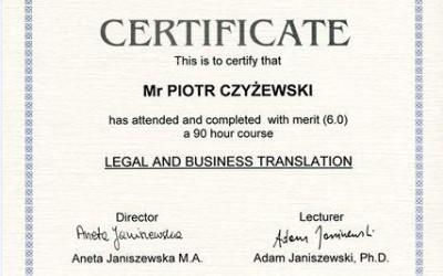 Legal and Business Translation course certificate